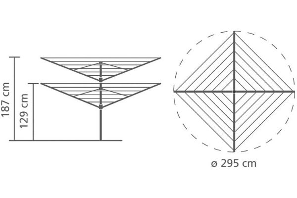 Medidas del tendedero Brabantia Lift-o-Matic totalmente desplegado 2,95 m x 2,95 m x 1,87 de altura