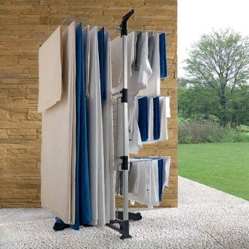 Tendedero vertical Ciclone cargado de ropa