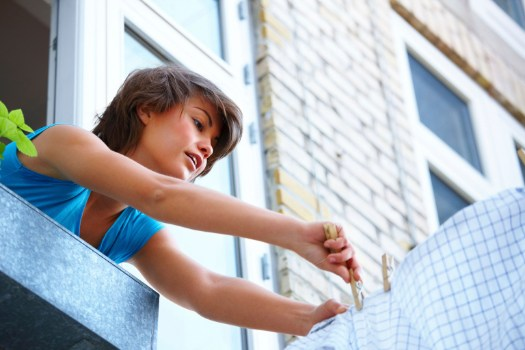 Tendedero de ropa de pared de exterior