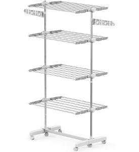 Homcom - Tendederos de Ropa portátiles verticales